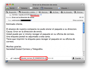 ESET España - Suplantación de Correos.es mediante spam