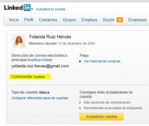 ESET España - Cambiar contraseña en Linkedin