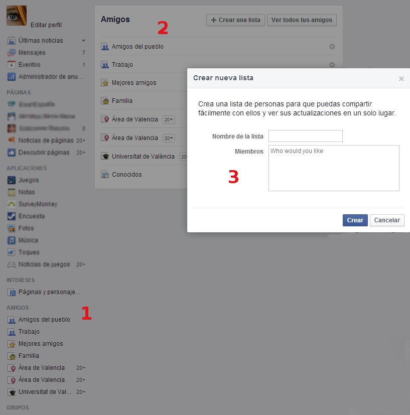 listas facebook
