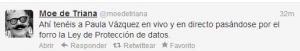 ESET España NOD32 Antivirus - Paula vázquez difunde información confidencial de sus seguidores en Twitter